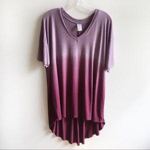 Livi Active t-shirt purple ombré dip dyed